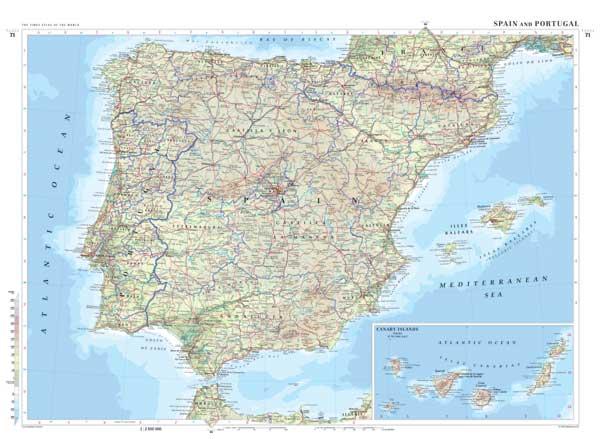 El Camino Santiago City Maps For Camino Francés And Camino Aragonés - Large map of spain